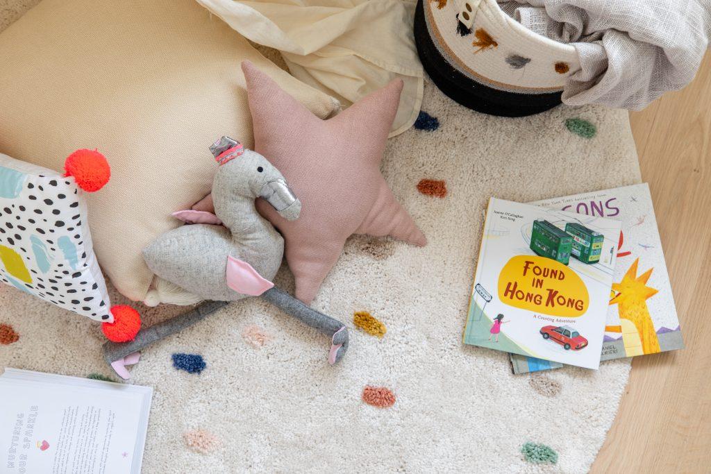 nursery area stuff toy with books